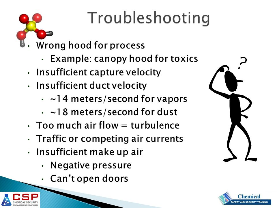 Troubleshooting Wrong hood for process Example: canopy hood for toxics