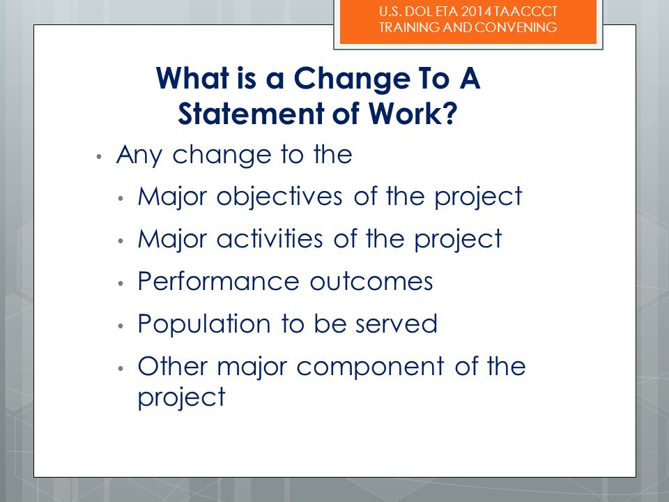 What is a Change To A Statement of Work