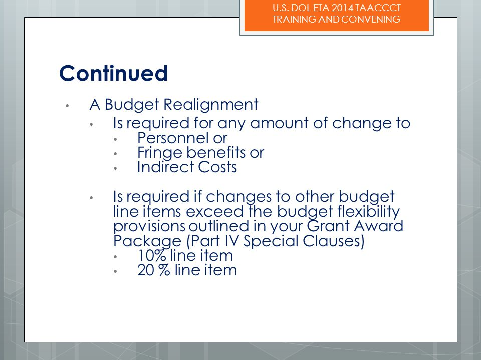 Continued A Budget Realignment Is required for any amount of change to