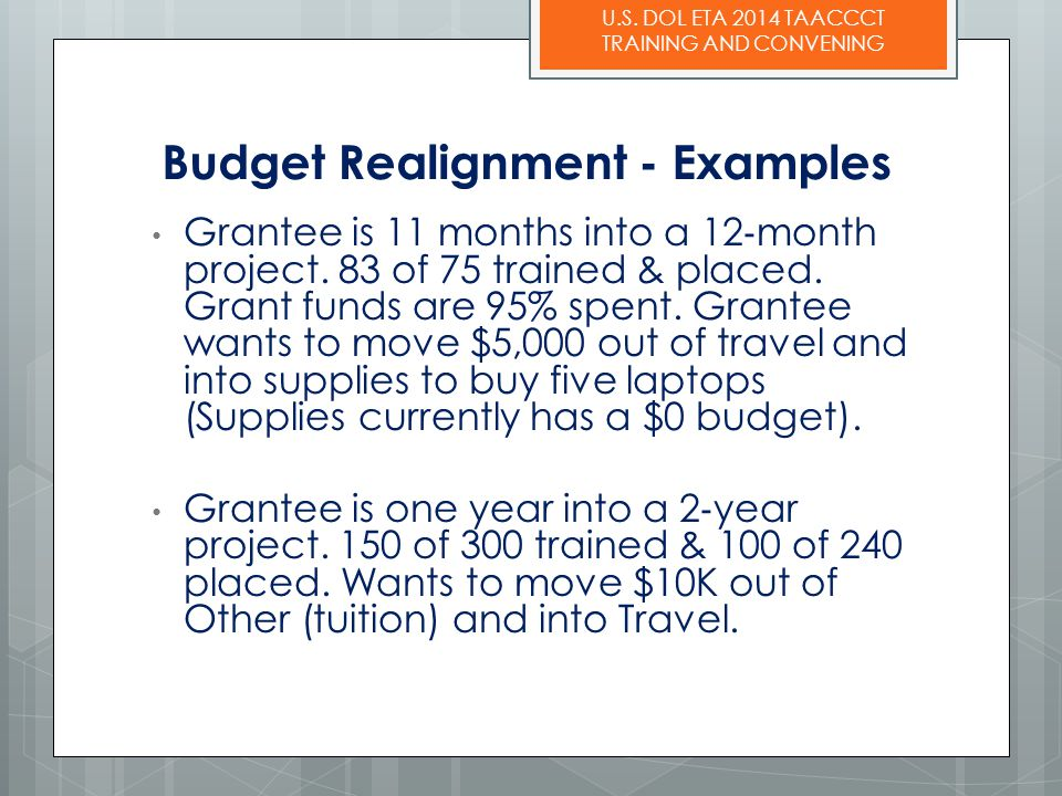 Budget Realignment - Examples