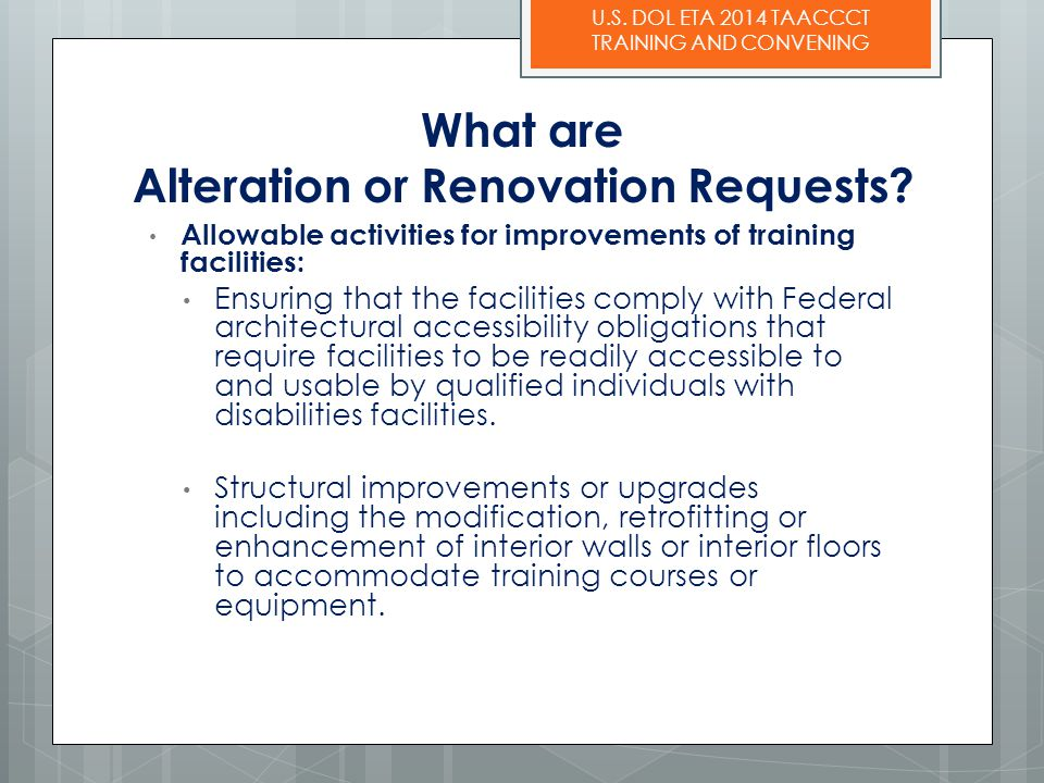 What are Alteration or Renovation Requests