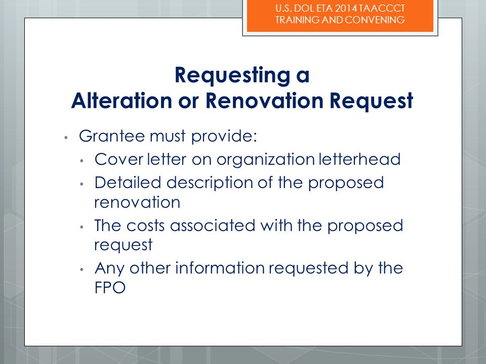 Requesting a Alteration or Renovation Request