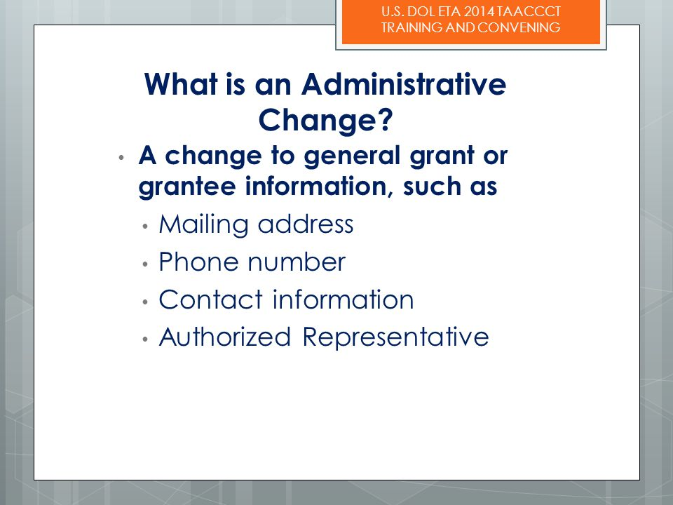 What is an Administrative Change