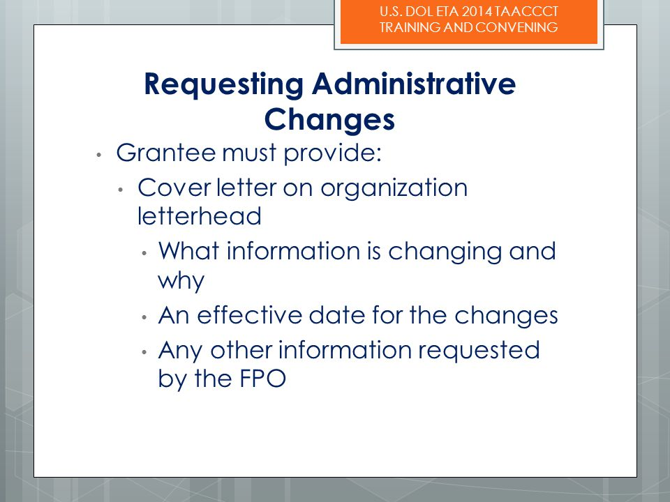 Requesting Administrative Changes