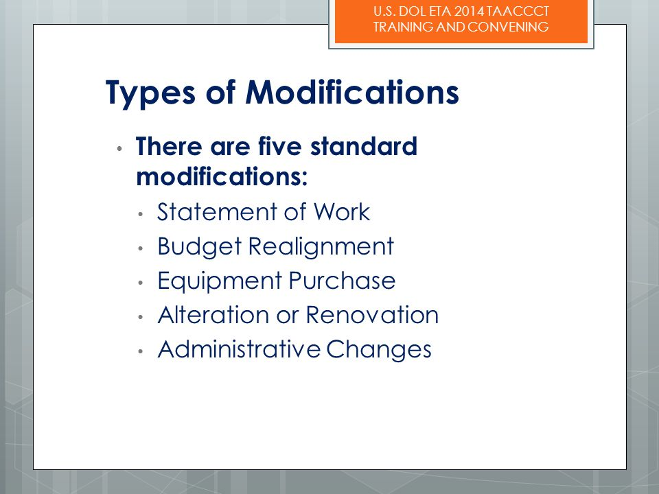 Types of Modifications