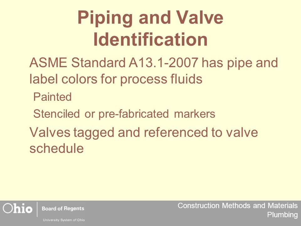 Piping and Valve Identification