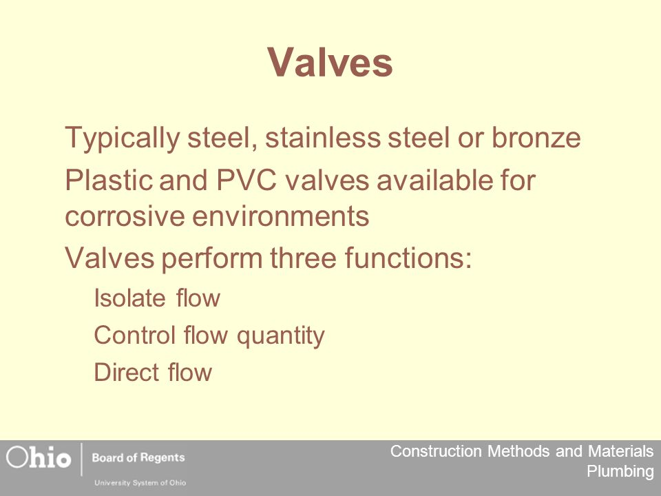 Valves Typically steel, stainless steel or bronze