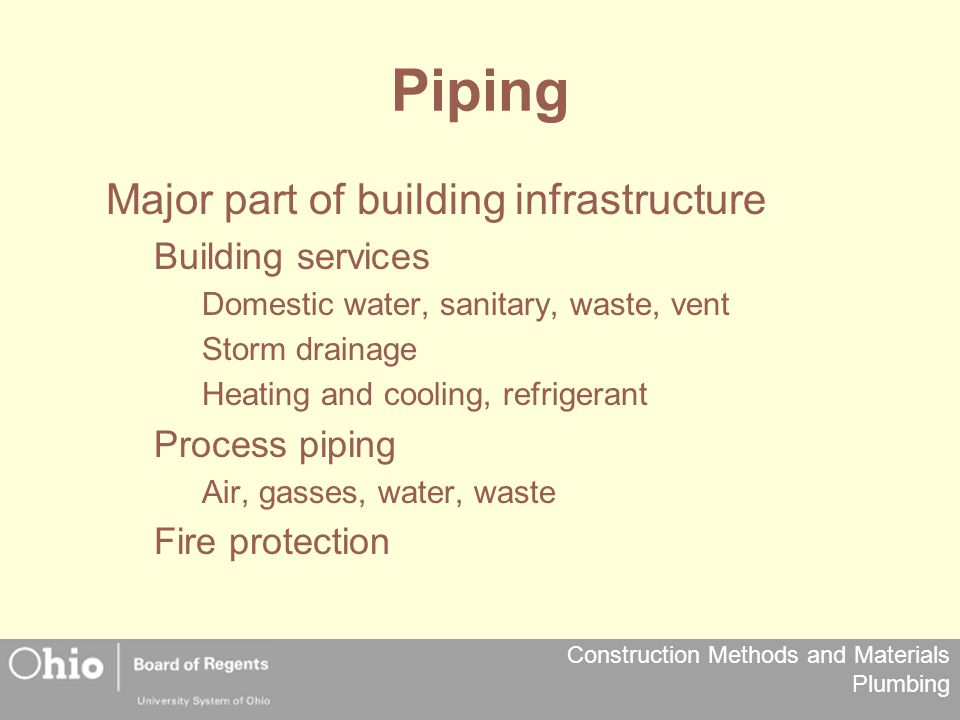 Piping Major part of building infrastructure Building services