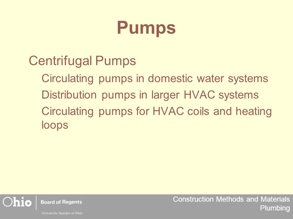 Pumps Centrifugal Pumps Circulating pumps in domestic water systems