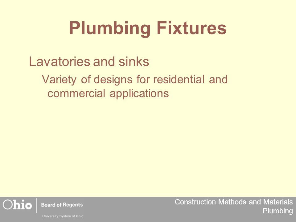 Plumbing Fixtures Lavatories and sinks