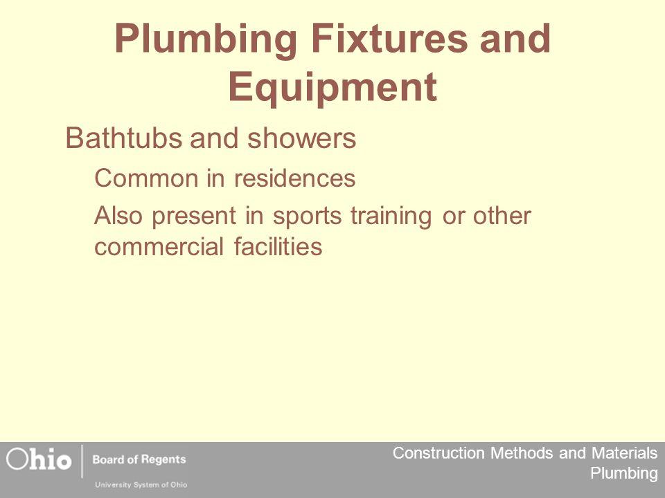 Plumbing Fixtures and Equipment