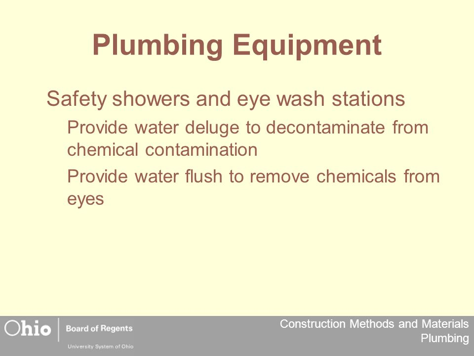 Plumbing Equipment Safety showers and eye wash stations