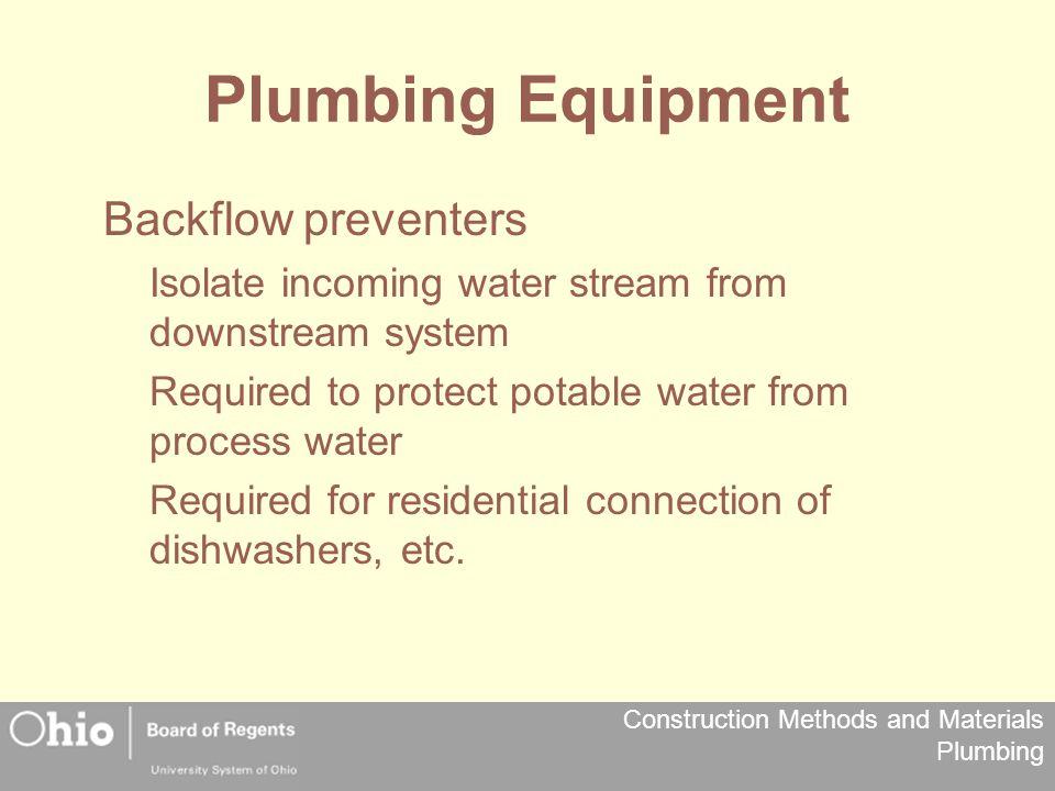 Plumbing Equipment Backflow preventers