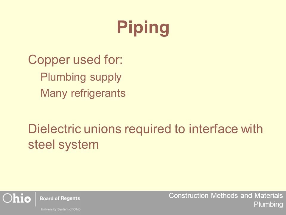 Piping Copper used for: