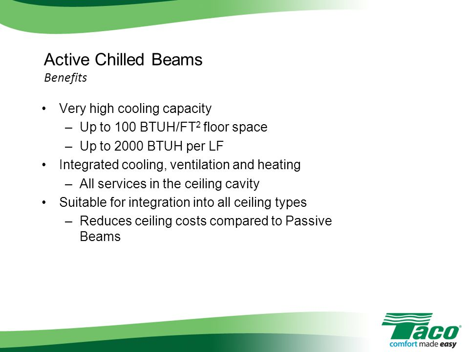 Active Chilled Beams Benefits