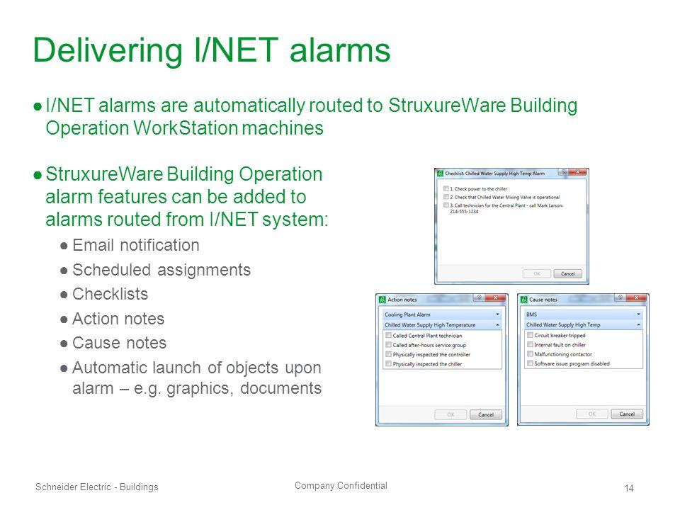 Delivering I/NET alarms