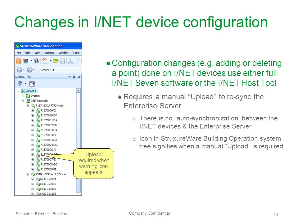 Changes in I/NET device configuration