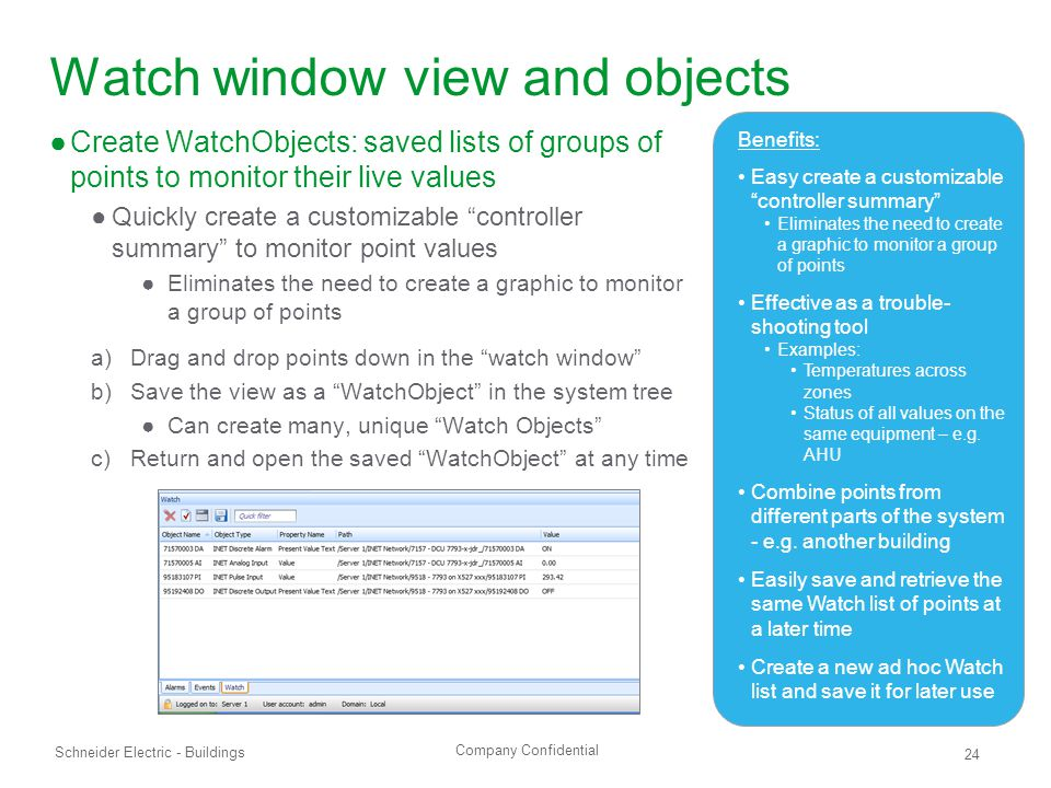 Watch window view and objects
