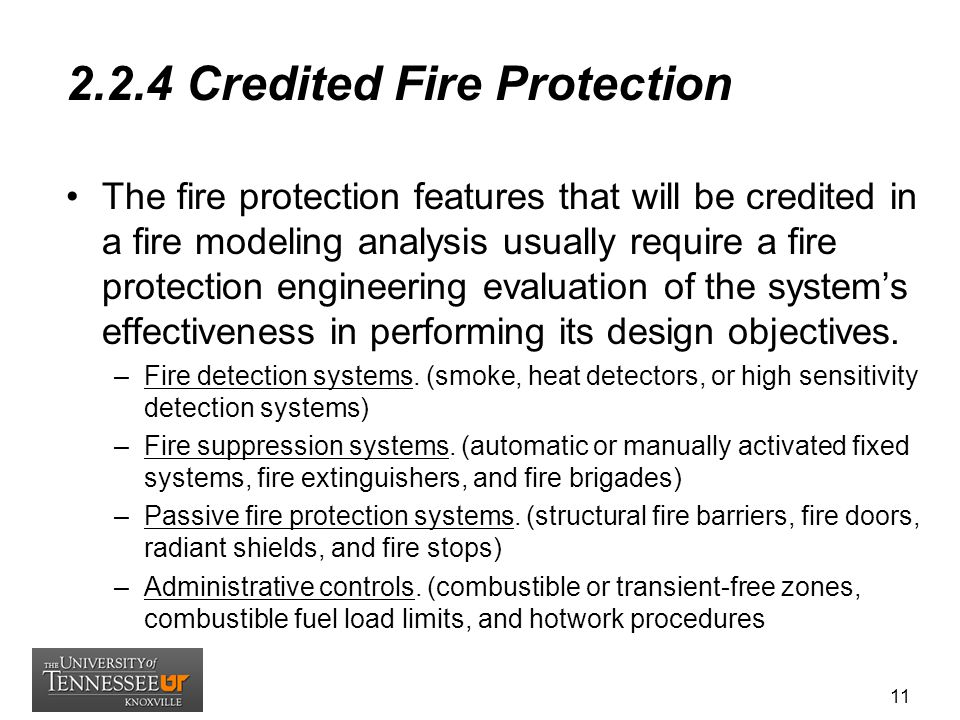 2.2.4 Credited Fire Protection