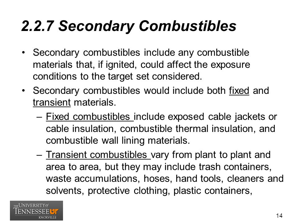 2.2.7 Secondary Combustibles