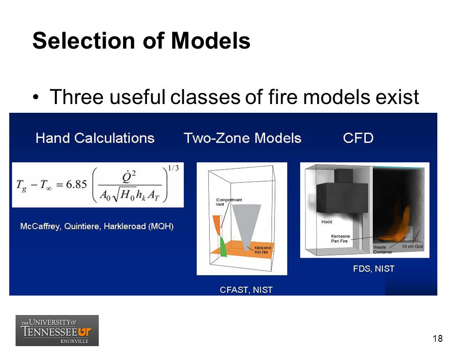Selection of Models Three useful classes of fire models exist (Ref: NIST, RIC 2007):