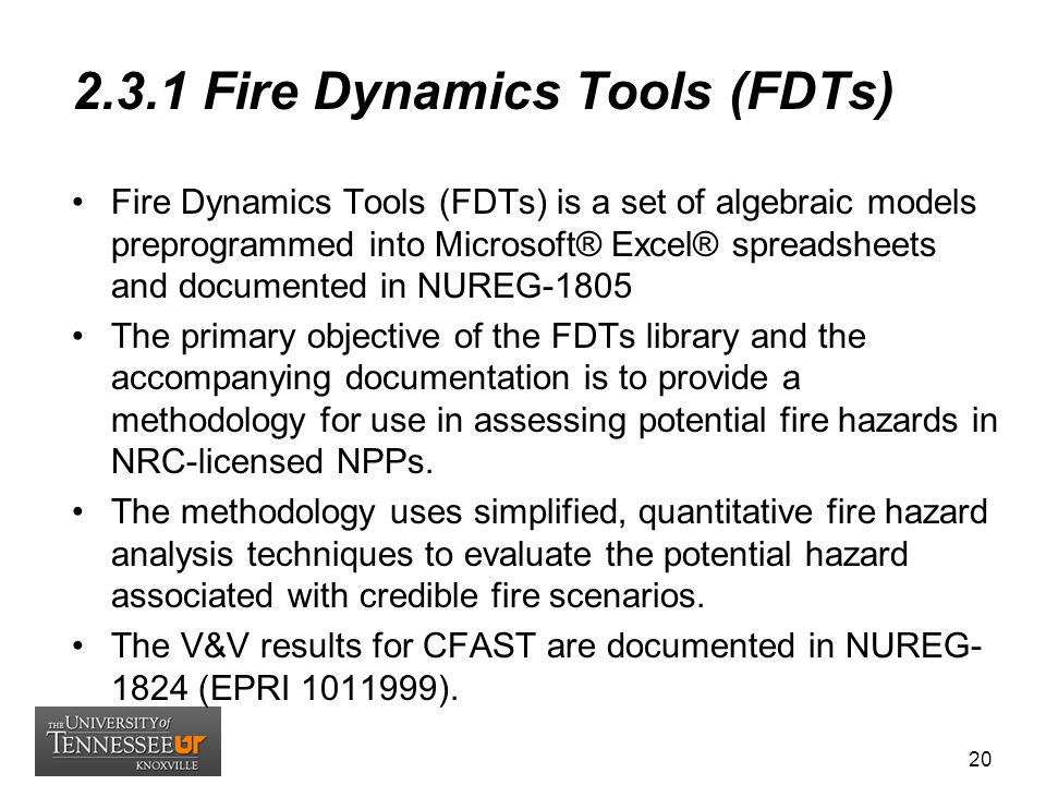 2.3.1 Fire Dynamics Tools (FDTs)