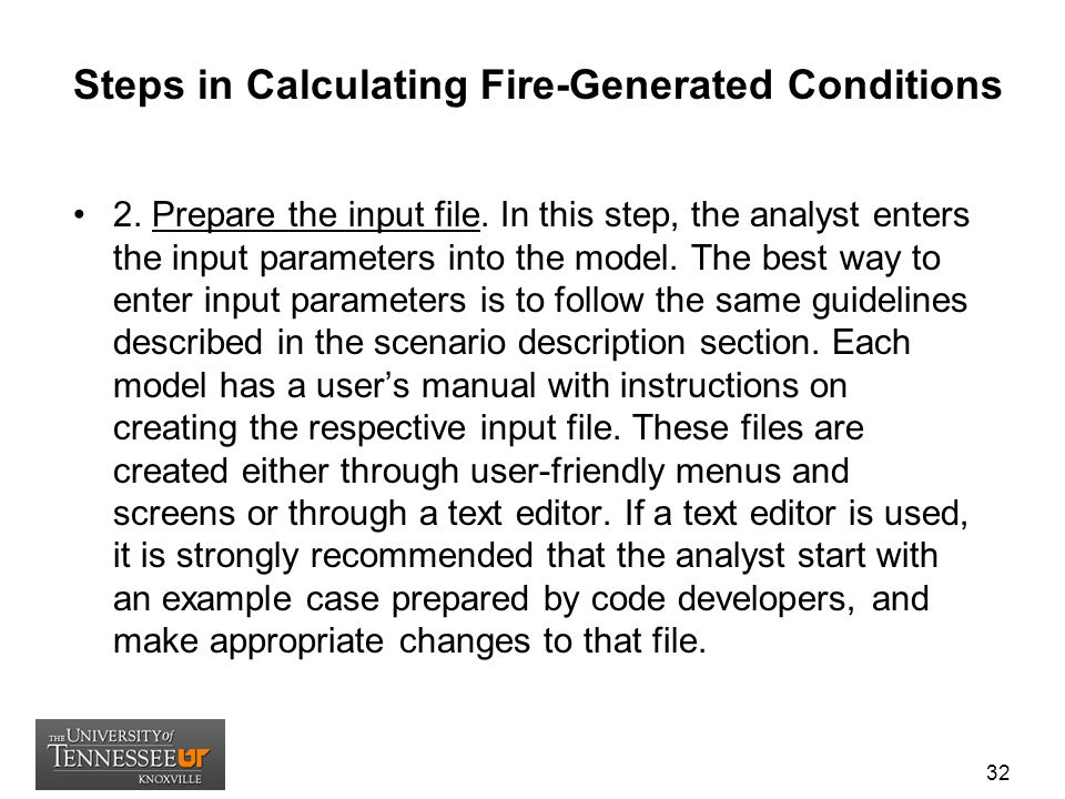 Steps in Calculating Fire-Generated Conditions