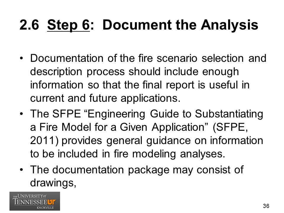 2.6 Step 6: Document the Analysis