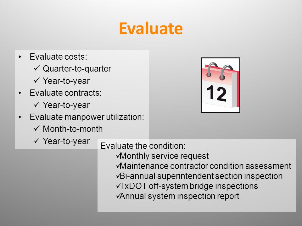 Evaluate Evaluate costs: Quarter-to-quarter Year-to-year