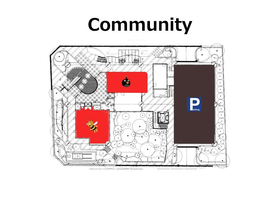 Community האזור האפור הוא אזור שהוקדש לחנייה של דיירי הבניין
