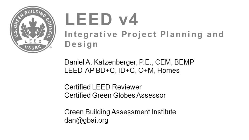 LEED v4 Integrative Project Planning and Design