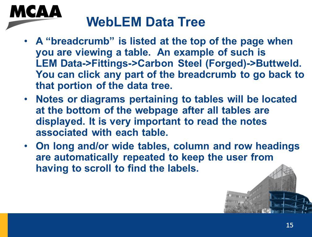 WebLEM Data Tree