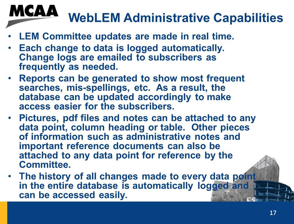 WebLEM Administrative Capabilities