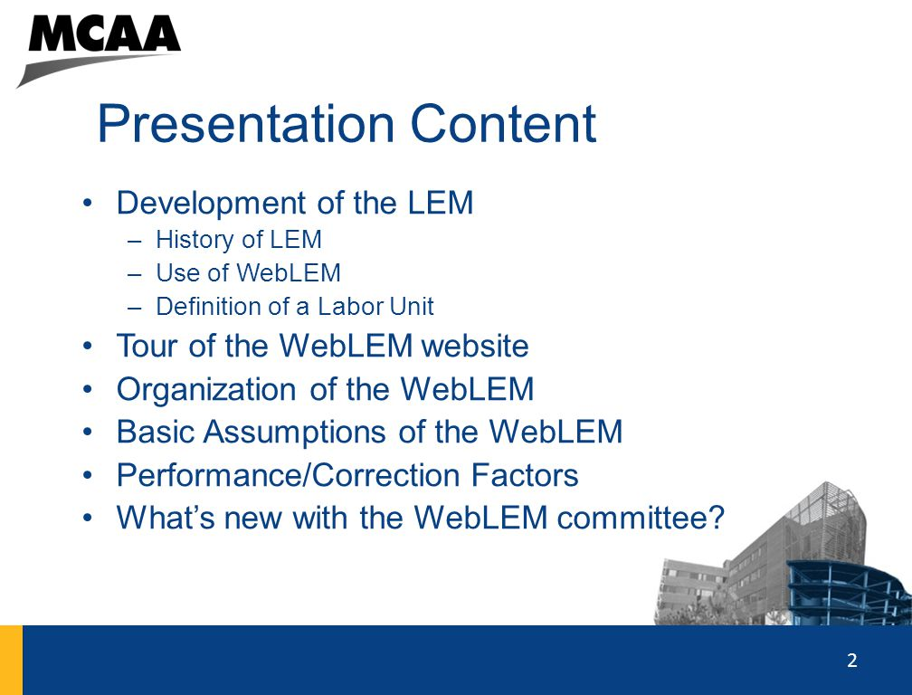 Presentation Content Development of the LEM Tour of the WebLEM website
