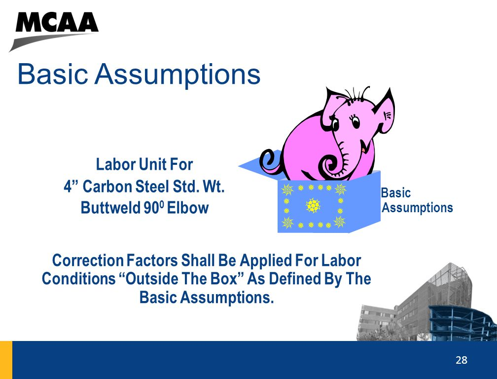 Basic Assumptions Labor Unit For 4 Carbon Steel Std. Wt.