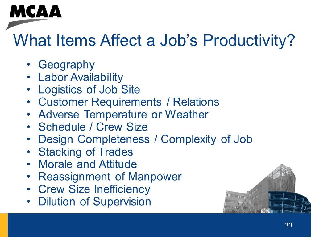 What Items Affect a Job's Productivity
