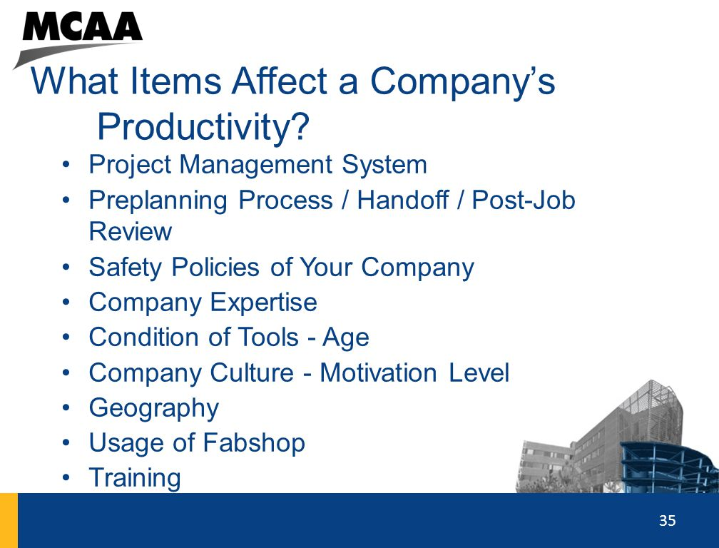 What Items Affect a Company's Productivity