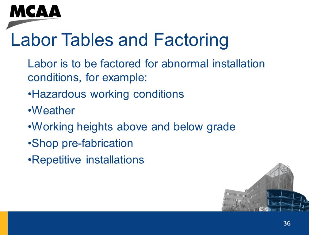 Labor Tables and Factoring