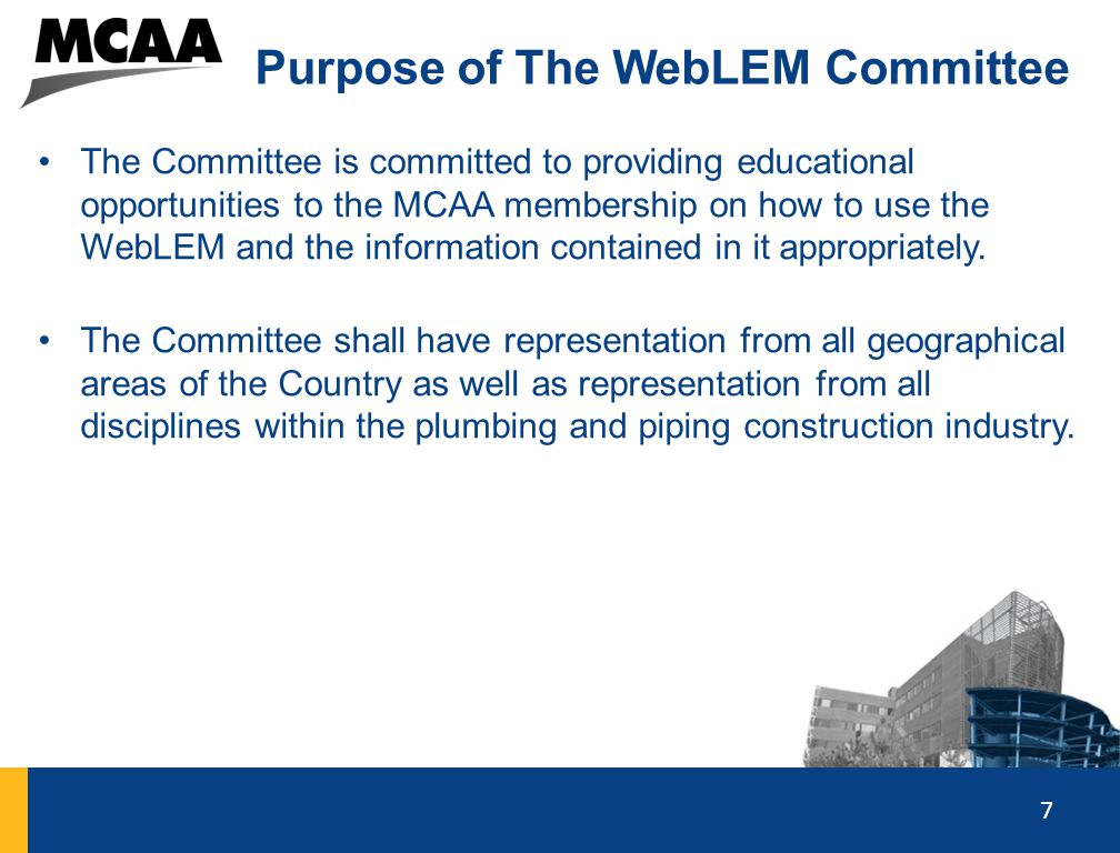 Purpose of The WebLEM Committee