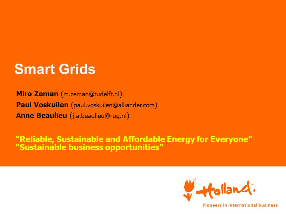 Smart Grids Reliable, Sustainable and Affordable Energy for Everyone