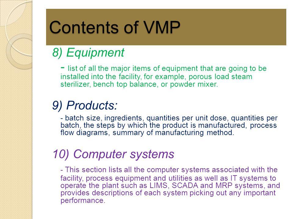 Contents of VMP 8) Equipment