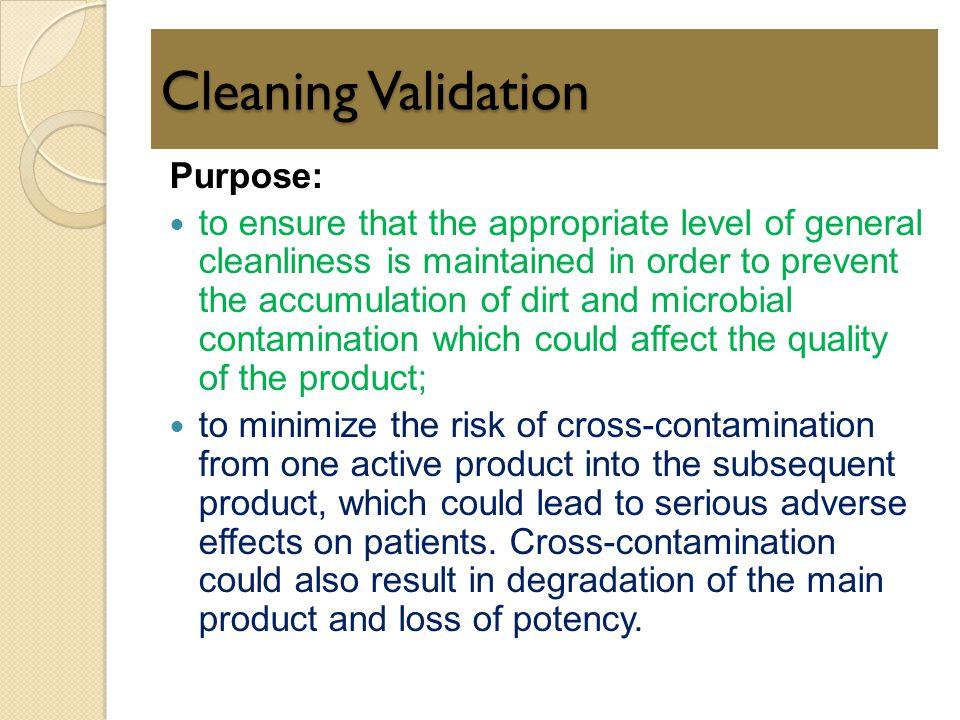 Cleaning Validation Purpose: