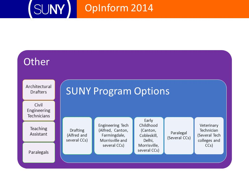 Other SUNY Program Options Drafting (Alfred and several CCs)