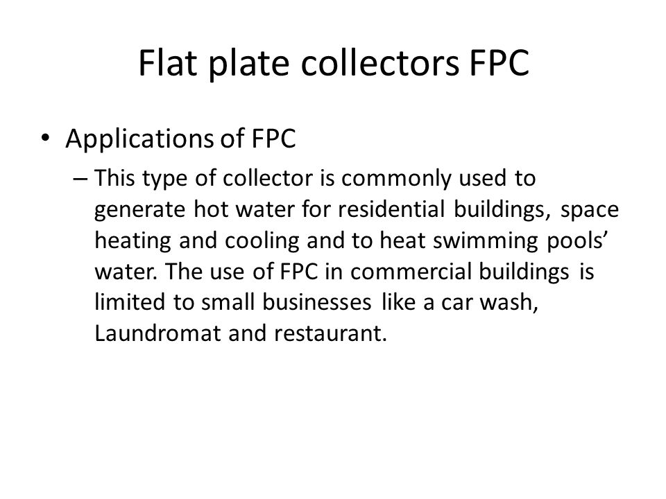 Flat plate collectors FPC