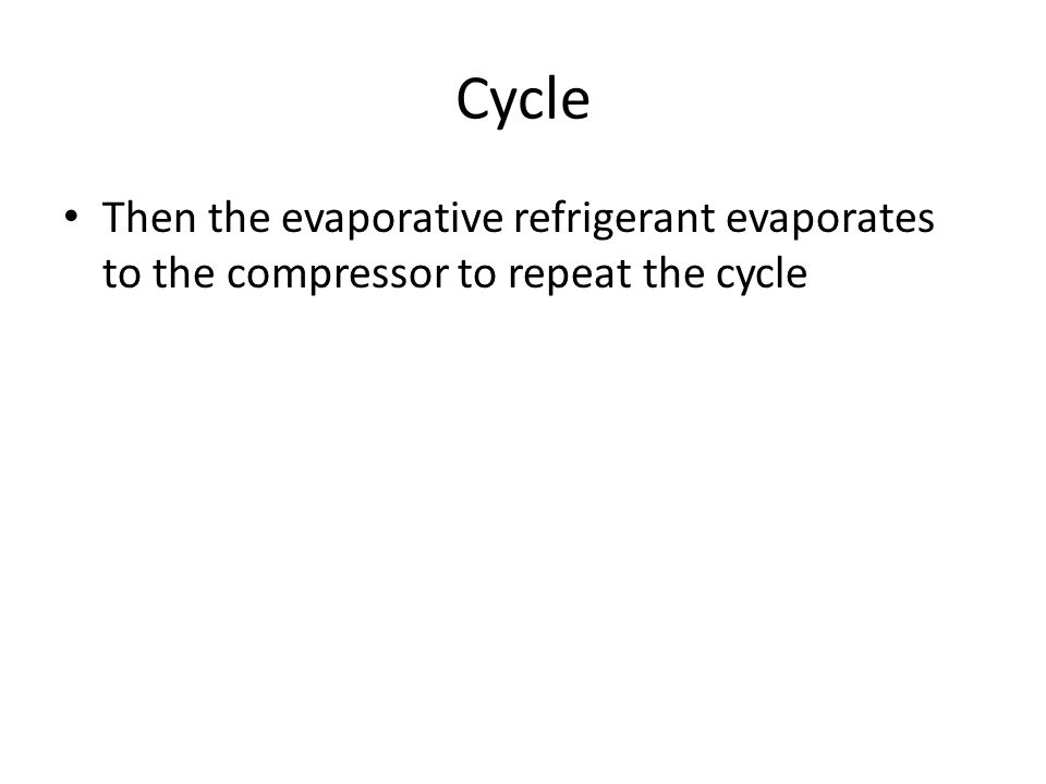 Cycle Then the evaporative refrigerant evaporates to the compressor to repeat the cycle