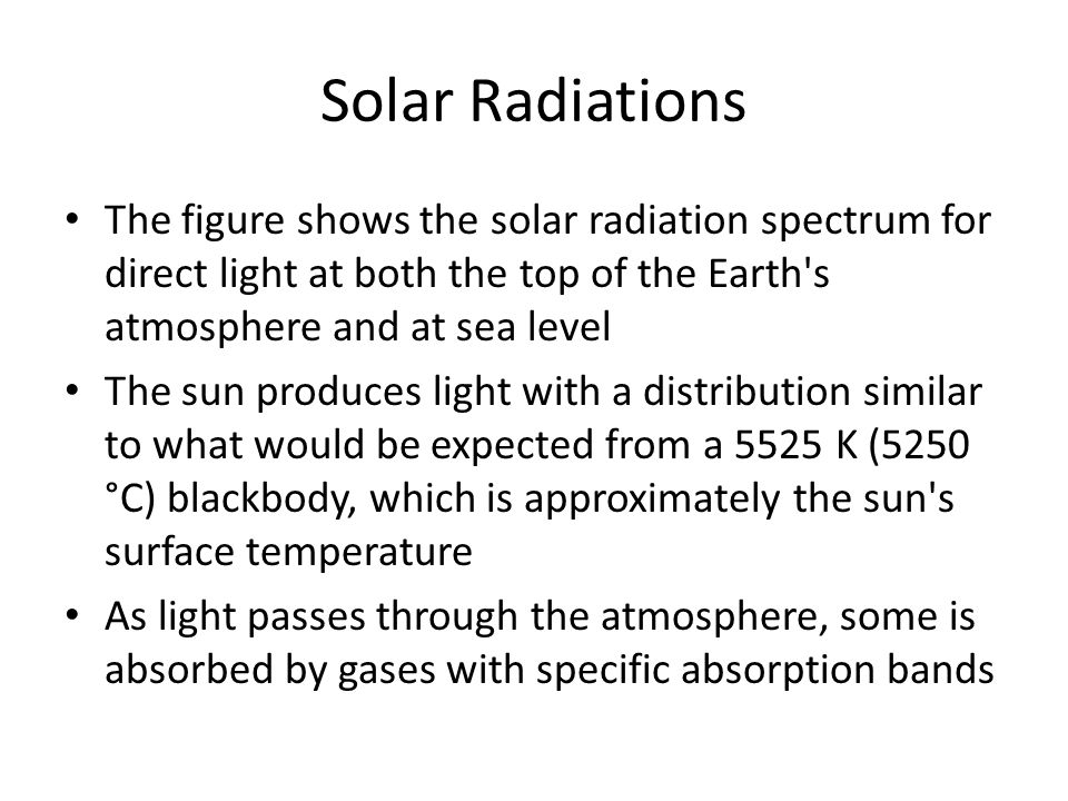 Solar Radiations The figure shows the solar radiation spectrum for direct light at both the top of the Earth s atmosphere and at sea level.