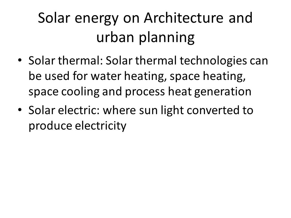 Solar energy on Architecture and urban planning