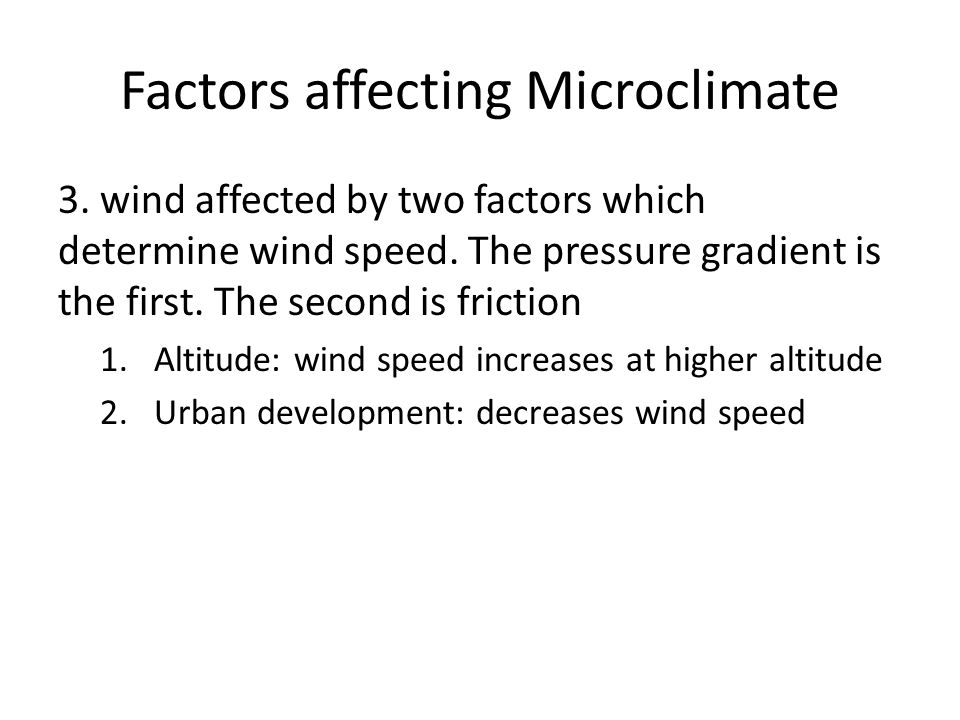 Factors affecting Microclimate