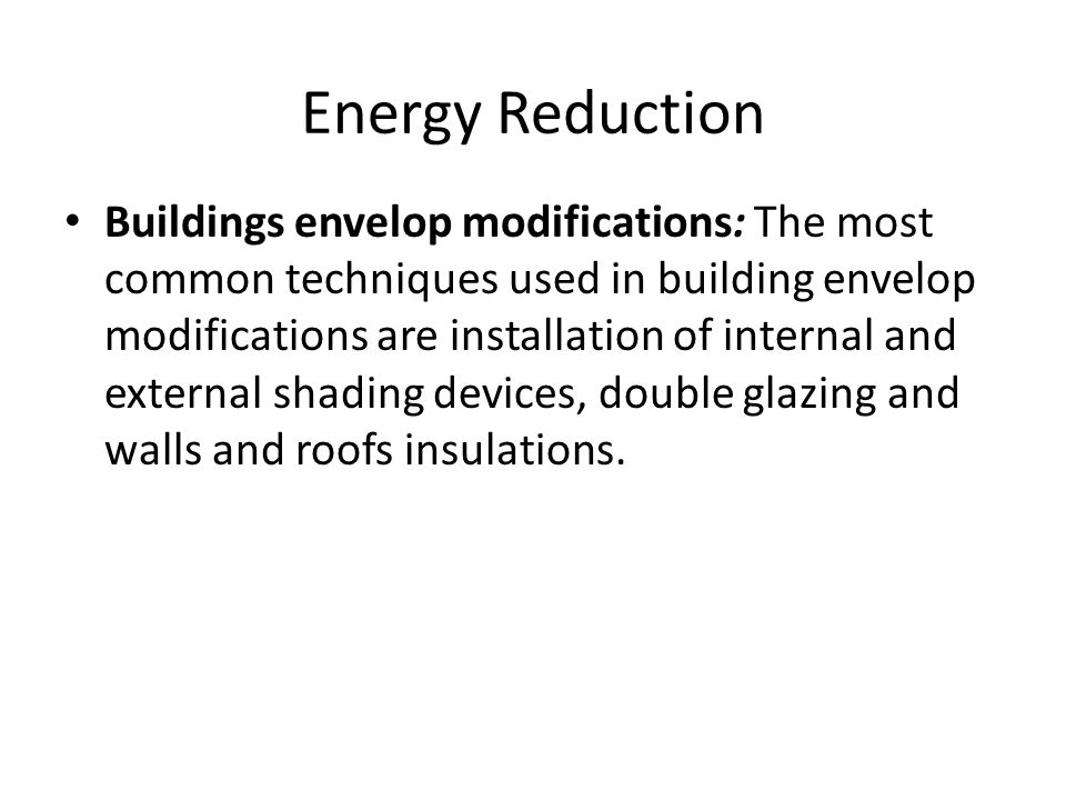 Energy Reduction