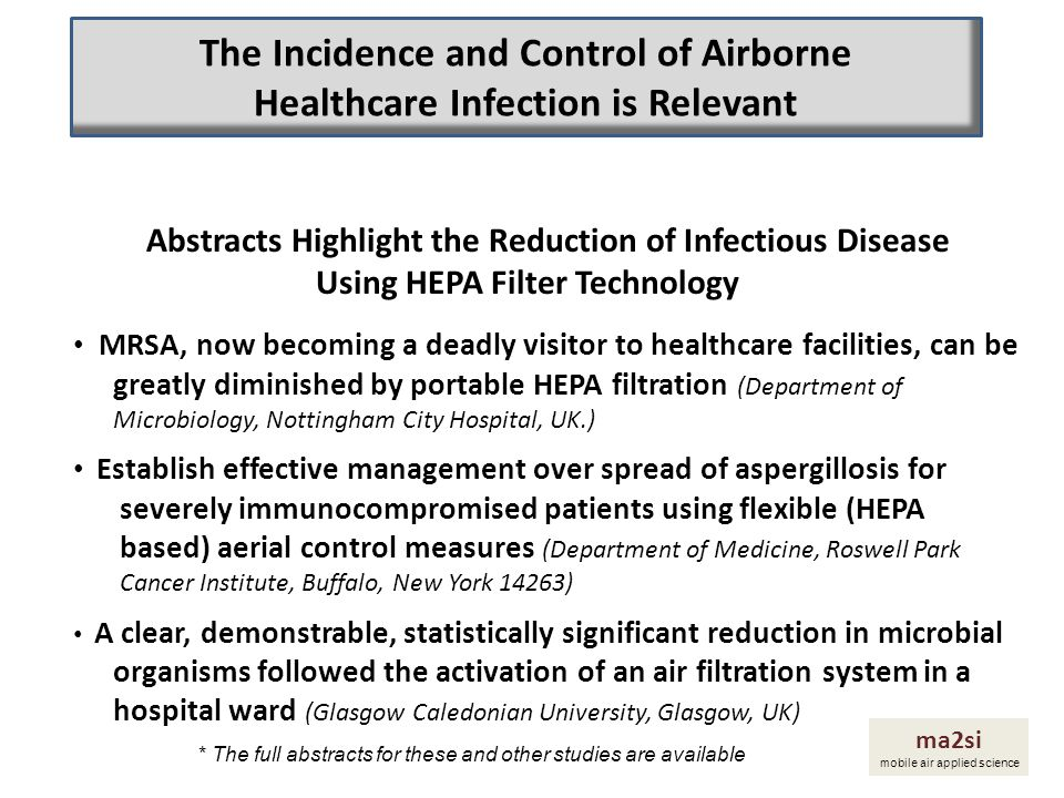 The Incidence and Control of Airborne Healthcare Infection is Relevant